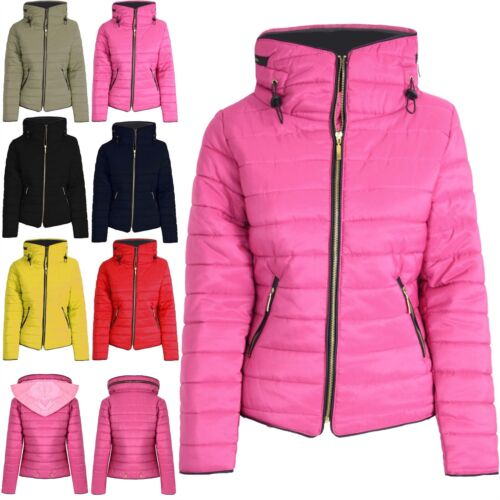 Boys Girls Kids Faux Fur Quilted Puffer Bubble Padded Jacket Fur Collar Zip Coat