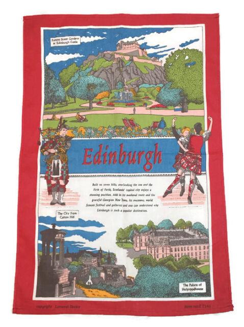 Historical Scotland Tea Towels Souvenir Gift Scottish Red Scenes Castle Cotton