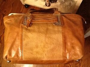Image Is Loading Innue Italian Brown Leather And Calf Hair Satchel