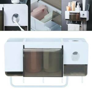 Bathroom-Toothbrush-Holder-Set-Wall-Mounted-Stand-Organiser-Shower-Shelf-Storage