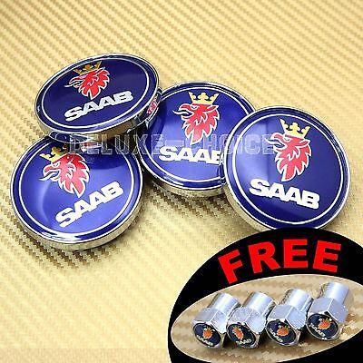 4 BLUE RED ALLOY WHEEL RIM CENTER LOGO HUB CAP EMBLEM 60MM for SAAB