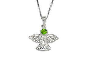 Sterling Silver Celtic Guardian Angel Birthstone Necklace - July - Branded Gift Box tFNuIlIr