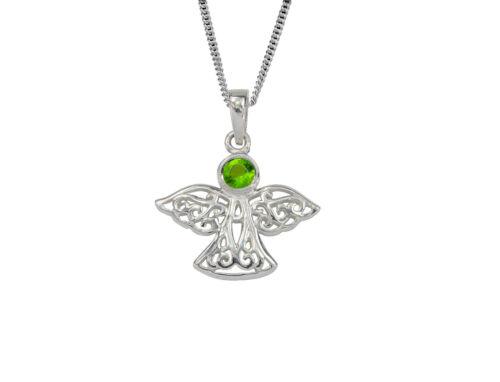 Celtic Lucky Sterling Silver Guardian Angel August Birthstone Pendant in Peridot