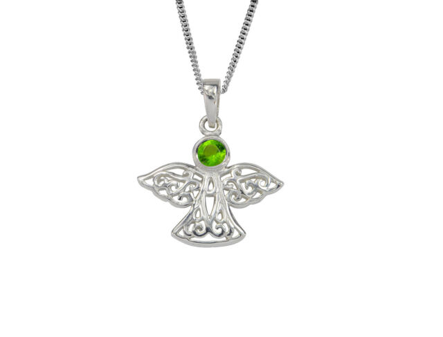 Celtic Lucky Sterling Silver Guardian Angel August Birthstone Pendant in Peridot