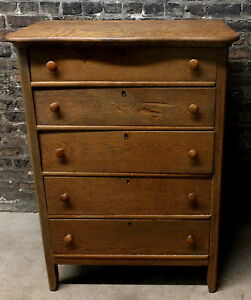 Antique Vintage C Small Oak Serpentine Chest Of