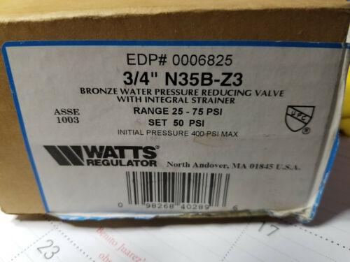 Z3 Pressure Reducing  Water Pressure Reducing Valve  N35B Watts  3//4 in