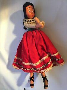 Really Old Vintage South American Spanish Canvas plush 10 Inch Doll Folk Art