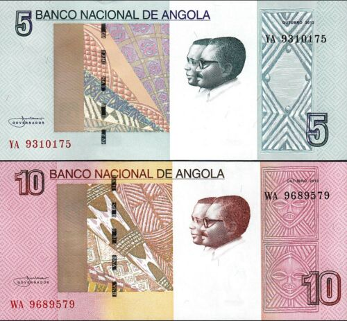 ANGOLA SET 2 PCS 5-10 KWANZAS 2012 2017 UNC P.NEW