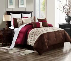 Details about BROWN BURGUNDY BEIGE EMBROIDERY WESTERN COUNTRY STYLE BEDROOM  DUVET BRENDA #15