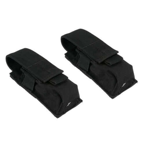 Details about  /2pcs Durable Black Flashlight Molle Pouch Hunting Holster Holder Bag Travel
