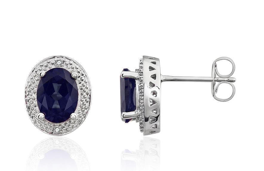 7b54f20928876 Sapphire gold 14K Stud White Shape Oval 8x6mm Earrings Accent ...