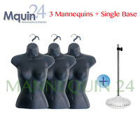 3 Pcs Female Torso Mannequins +1 Stand + 3 Hangers -woman Clothing Display Forms