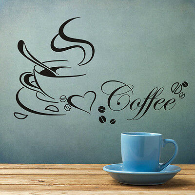 Coffee Cup Heart Sticker Decal Cafe Restaurant Home Kitchen Wall Window Decor