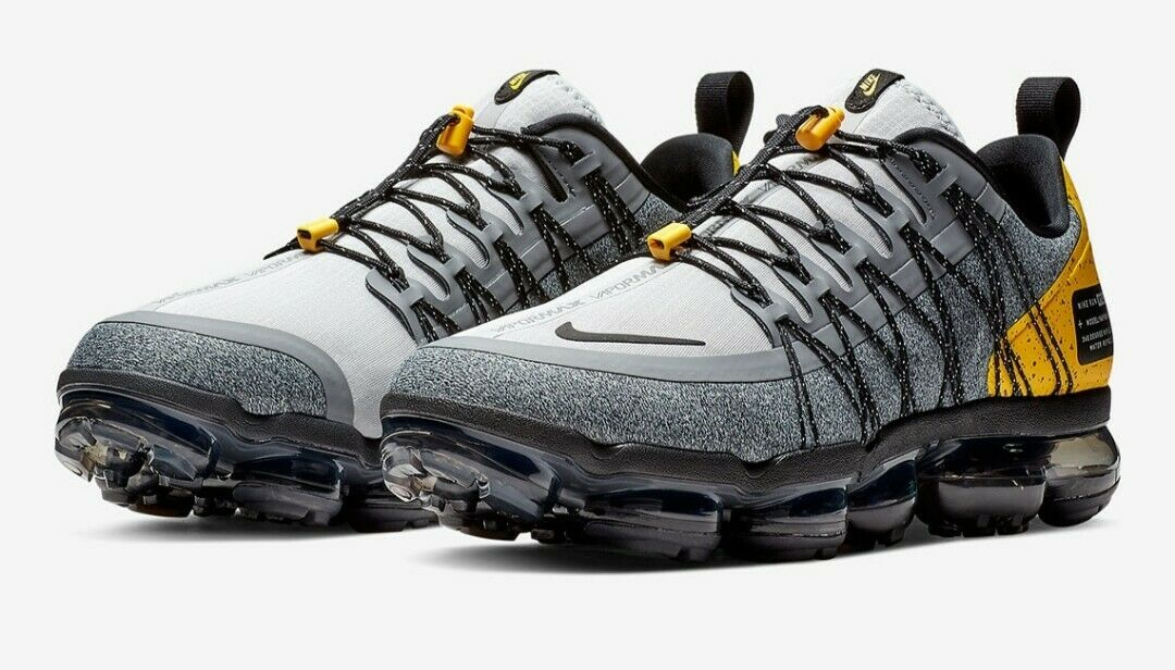 Nike Air Vapormax Run Utility Wolf Grey black Yellow Size 11 (AQ8810-010) New
