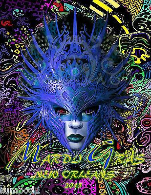 Mardi Gras Poster//Venetian Masks//2015//17x22 inch//New Orleans