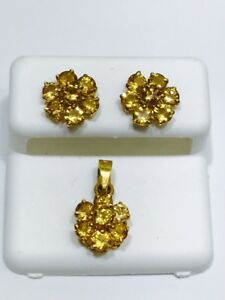 14k-Solid-Yellow-Gold-Genuine-Yellow-Topaz-Flower-Earrings-And-Pendant-Set