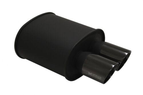 "MEGAN RACING 3.5/"" UNIVERSAL DUAL BLACK COATED ROLL TIPS MUFFLER 2.5/"" INLET"