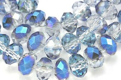 Clear Silver Blue AB Faceted Rondelle Crystal Cut Glass Beads
