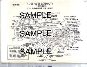 1946 1947 1948 Plymouth Deluxe P15 C P15 S Exterior Body Parts Diagram Sheets Wm Ebay
