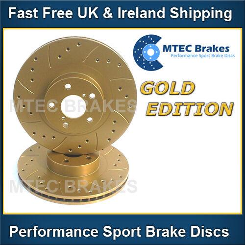Saab 9-3 Estate 1.9 TTiD VSport 08 Front Brake Discs Drilled Grooved Mtec Gold