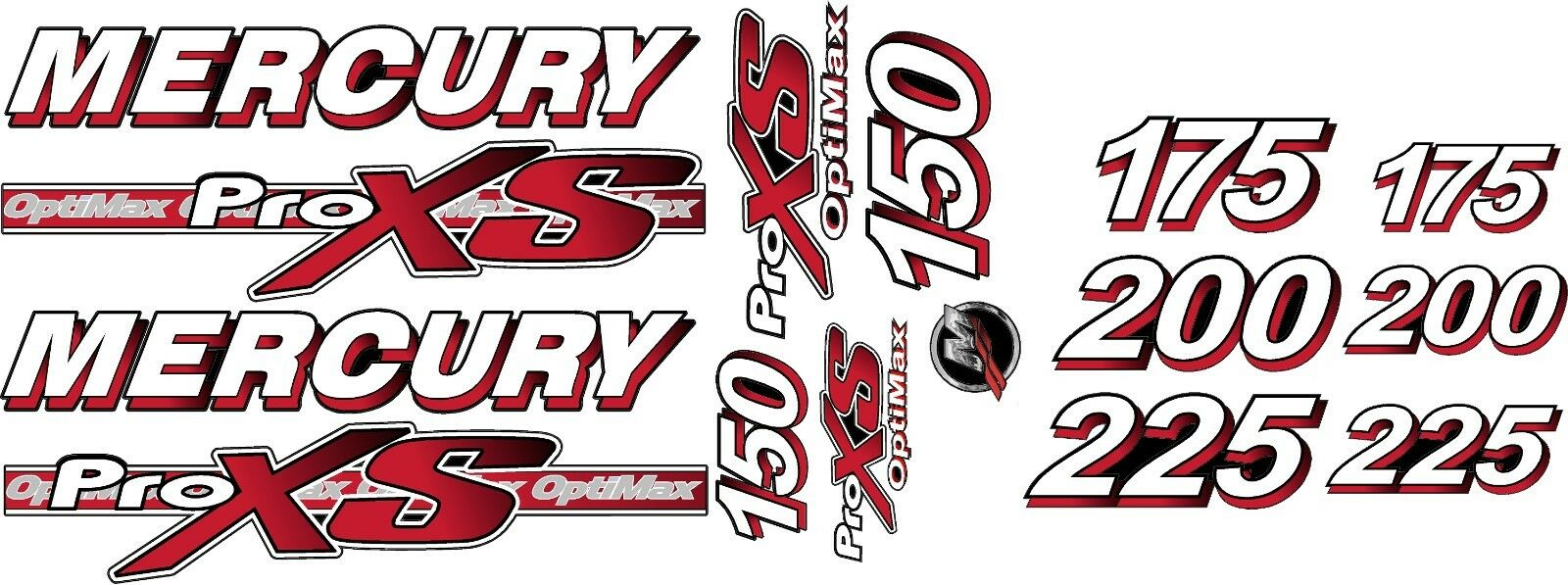Mercury optimax pro xs 150 to 225 hp decal kit for sale online ebay