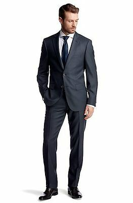 Hugo Boss Selection Gilbert Tower Black Navy Charcoal Gray Suit 38 40 42 44 44L