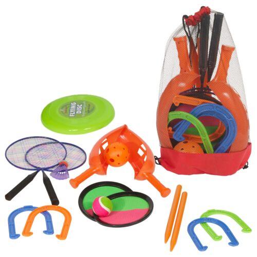 7pc Outdoor Game Set Badminton Frisbee Horseshoe Catch Ball KId Sport Bag Garden