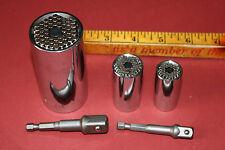 """Gator Grip universal socket w/2 extras 1/2"""" & 3/8"""" drive w/power drill adaptors"""