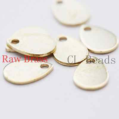 100pcs Raw Brass Pear Shape Charm - Tear Drop 8x5.5mm (1835C-U-102)