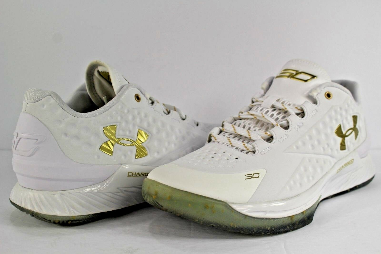 Under Armour Curry Low MVP White Metallic Gold Size 8.5 Steph