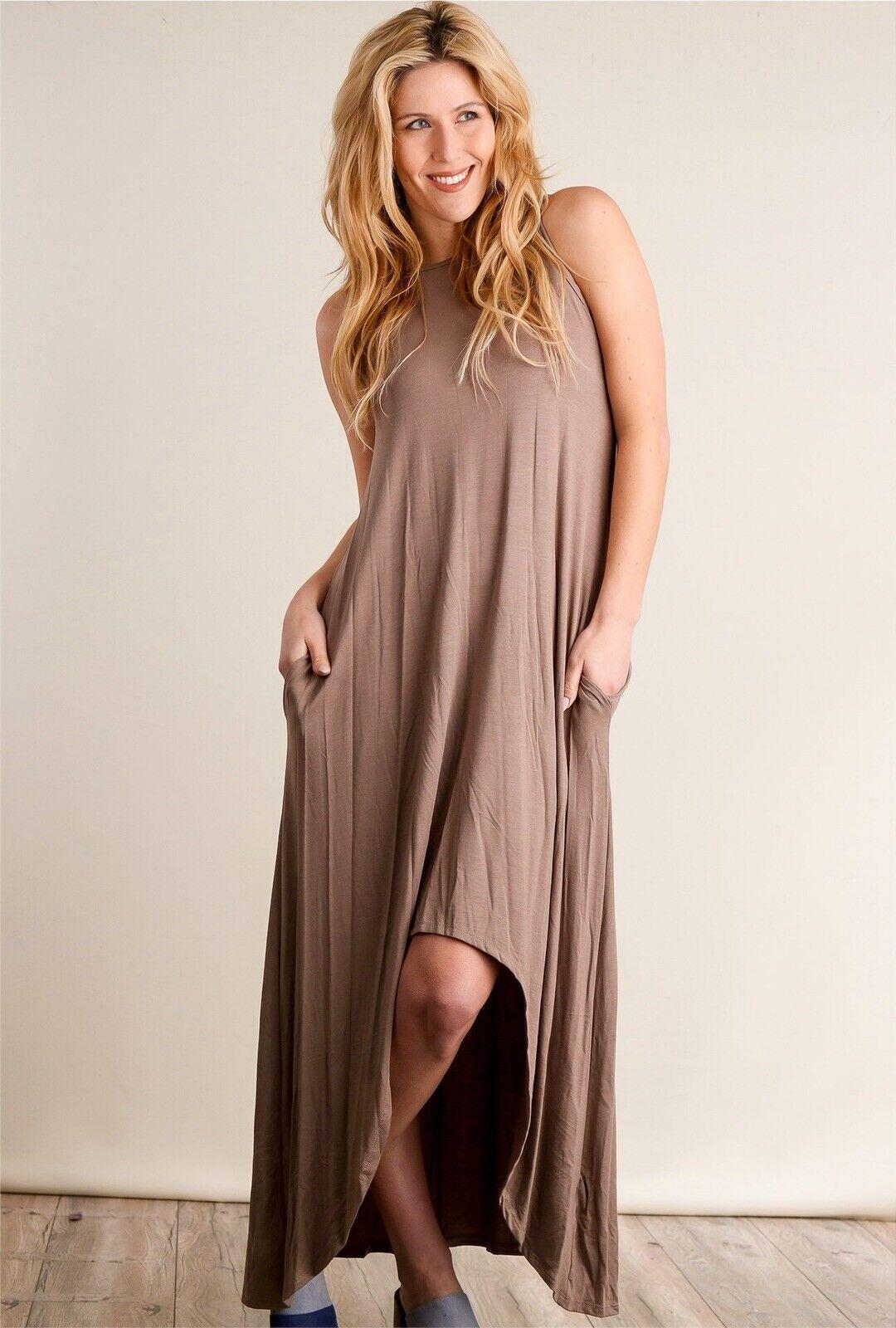 a39b04cf1d23 Boutique Clothing Bellamie Maxi Mocha T-Shirt Tank Soft Dress W Pockets XL
