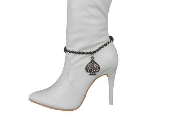 Umoristico Moda Donna Stivali Braccialetto Argento Catena Di Metallo Croce Western Bling Elegante E Grazioso