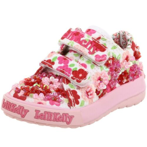 Lelli Kelly Primula Pink Red White Shoes floral sneakers 2 Straps Beaded Flower