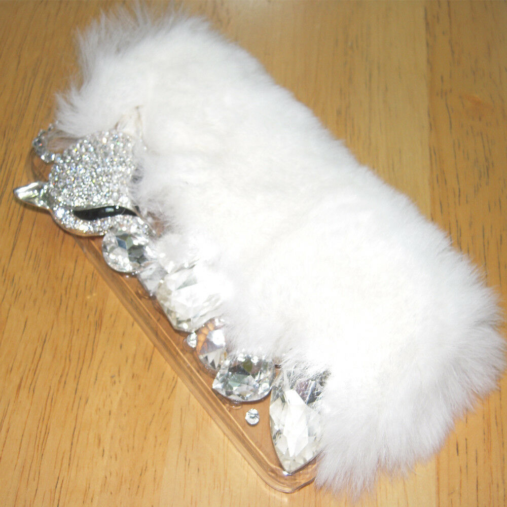 BLING DIAMOND CRYSTAL FOX WHITE FUR CASE FOR iPHONE 7 P