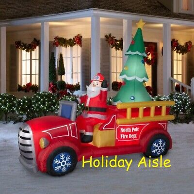 Inflatable Christmas Decorations.Giant Santa S Fire Truck Airblown Lighted Inflatable Christmas Tree Ebay
