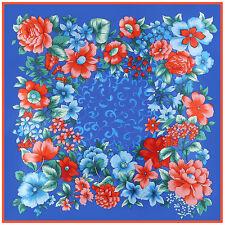 "Women's Vintage Head Hijab Fashion Flower Print Soft Satin Square Scarves35""*35"""
