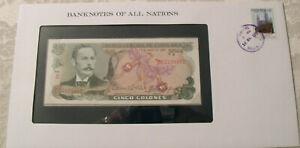 Banknotes of All Nations Costa Rica 1983 P-236d 5 Colones UNC Serie D Prefix D