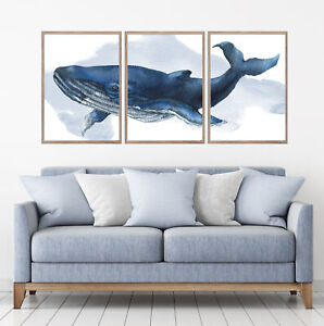 Blue Whale Watercolour Set Of 3 Wall Art Home Decor Picture Framed Prints