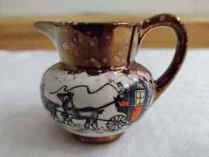 Vintage Gray's pottery, small pitcher, horse/carriage scene/lustreware.