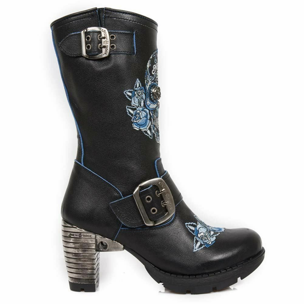 NEWROCK Sugar New Rock TR047-S2 Ladies Azul Sugar NEWROCK Skull Embroidery Leather Trail Botas 3285a5