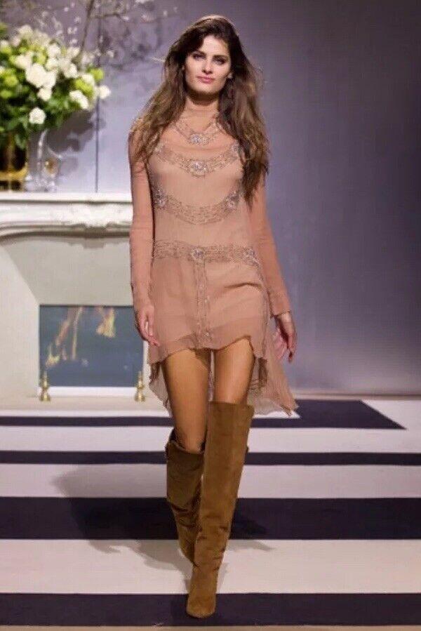 H&M Runway High Low Vintage style Embellished dress Size