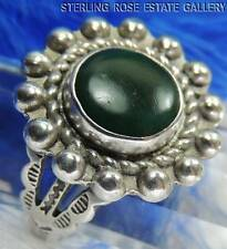 VINTAGE DARK GREEN TURQUOISE Hand Crafted Sterling Silver 0.925 RING size 7.5