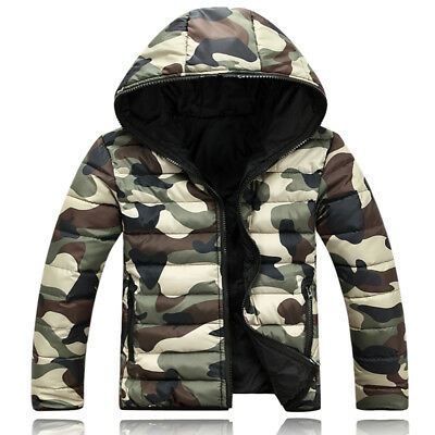 Men Camouflage Winter Warm Coat Cotton-padded Clothes Hooded Outwear Jacket