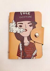 Donna Ragazza Carino Rosa Disegno Cartone Animato Design Snap Fissaggio Porta carte di credito wallet
