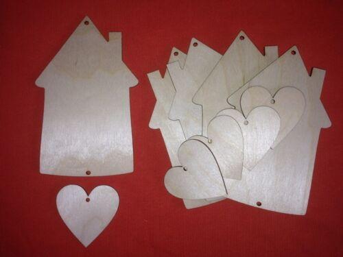 5 Sweet Home Grand tag /& coeur non peinte en blanc en bois forme embellissements Craft