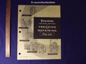 Firestone Tires Prices >> Details About Feb 1964 Firestone Factory Treading Repairing Tire Price List Catalog Tube Line
