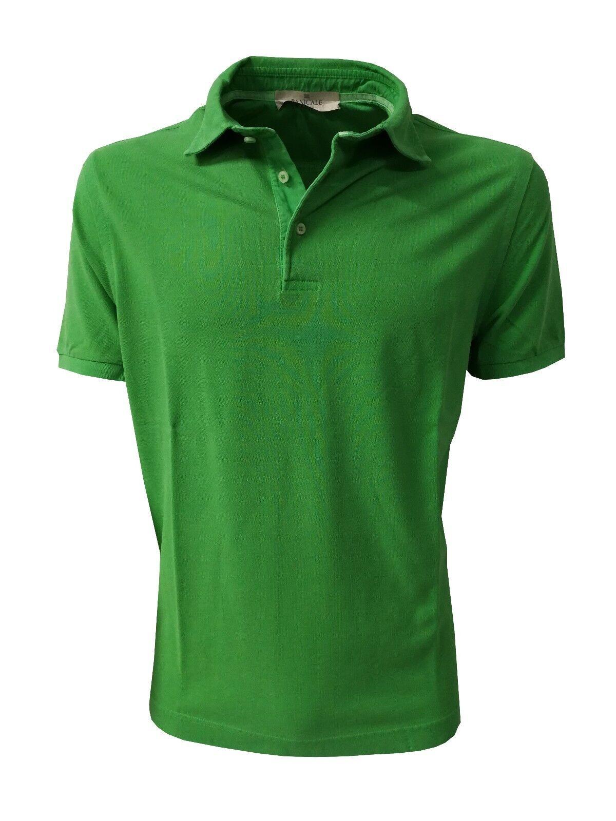 PANICALE Mann-Kurzarm Polo mit Seitenschlitze Seite grün 100% Baumwolle