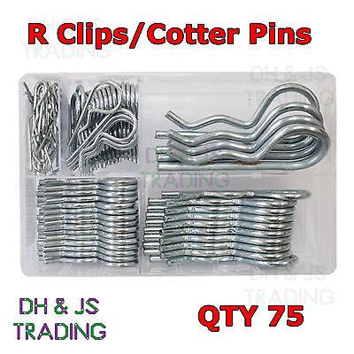 Menge 75 R-clips Lynch Splint Haltezapfen Clever Verschiedene R Klemmen 5 Sizes Bzp