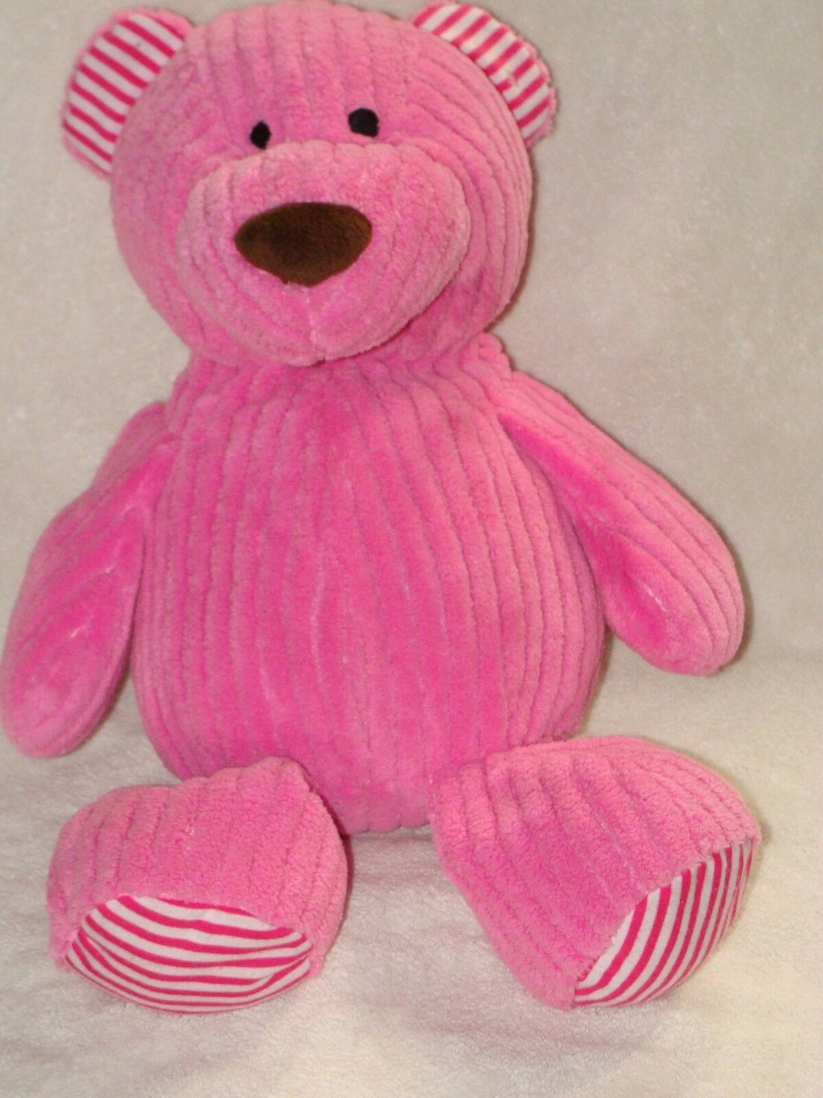 Animal Adventure Plush Teddy Bear Pink Corduroy Chenille Stripe 16  2014