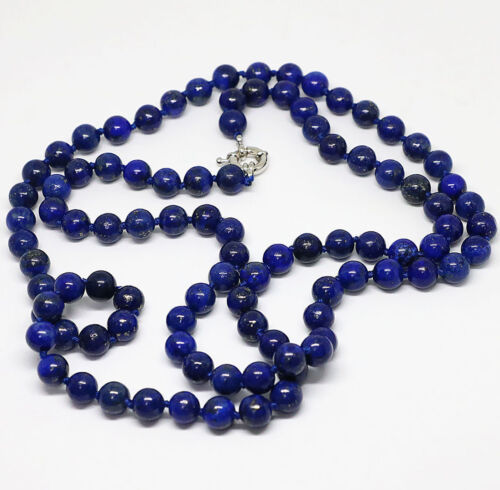 "Naturel NEUF 10 mm Bleu Lapis Lazuli gemsotong ronde collier long 36/"" AAA"